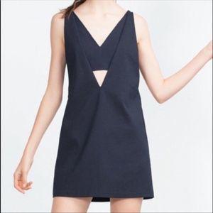 Zara Trafaluc Pinafore Navy Dress -S